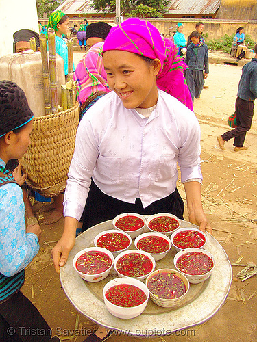 tiết canh (tiet canh) is raw blood soup - vietnam, asian woman, bowls, breakfast, coagulated blood, dishes, duck blood, food, hill tribes, indigenous, market, mèo vạc, poultry, raw blood soup, red, tiet canh, tiết canh, tribe girl