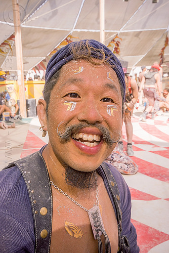 tim laurel at center camp - burning man 2015, burning man, dusty, mustache, necklace, tim