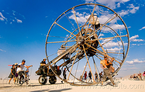 the time cycle - burning man 2009, art car, burning man, ferris wheel, mark baril, time cycle, wheels