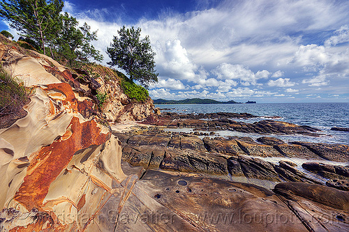 the tip of borneo - simpang mengayau cape, cape, cliff, clouds, erosion, ocean, rock, rocky, sandstone, sea, seashore, shore, stone, tanjung simpang mengayau, tide pools, tip of borneo, trees