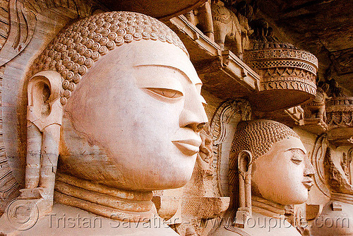 tirthankaras heads - jain rock-cut temple (gwalior), caves, gwalior, heads, india, jain temple, jainism, rock-cut, sculptures, statue, tirthankaras