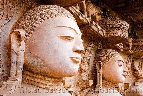 tirthankaras, caves, gwalior, heads, jain temple, jainism, rock-cut, sculptures, statue, temples, tirthankaras