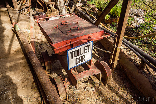 toilet car - mine trolley (philippines), balatoc mines, gold mine, mancart, mine railway, mine train, mine trolley, philippines
