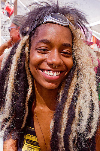 toni with black and blond dreadlocks - burning man 2012, burning man, dreadlocks, dreads, nose piercing, septum piercing, toni, woman