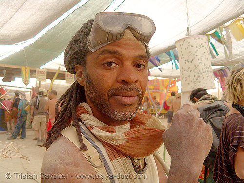 tony, surviving the dust storm in center camp - burning man 2007, burning man, center camp, dust storm, goggles, tony