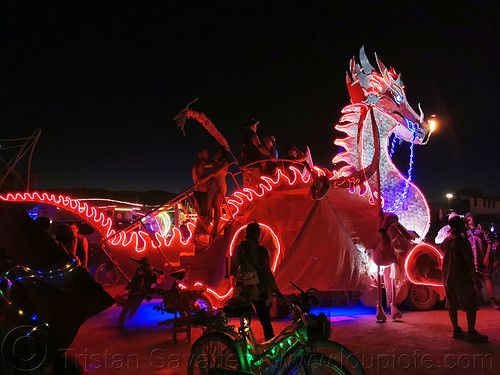 torch dragon art car - burning man 2019, burning man, glowing, mutant vehicles, night, torch dragon art car