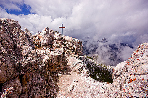 torre di toblino summit - cross, alps, clouds, cross, dolomites, ledge, mountain climbing, mountaineering, mountains, parco naturale dolomiti di sesto, religion, rock climbing, summit, torre di toblin, torre di toblino, via ferrata