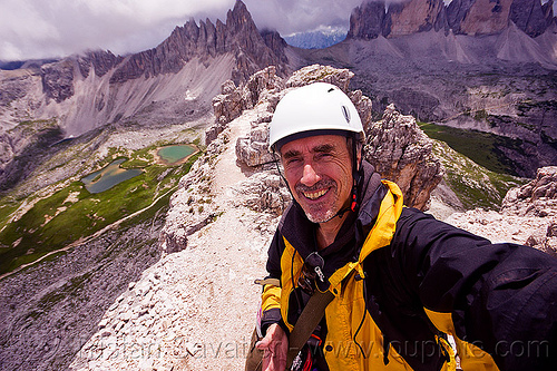 torre di toblino summit - dolomites, alps, climbing helmet, dolomites, ledge, man, mountain climbing, mountain jacket, mountaineer, mountaineering, mountains, parco naturale dolomiti di sesto, rock climbing, self-portrait, selfie, summit, torre di toblin, torre di toblino, via ferrata