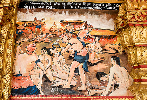 torture scene on temple - luang prabang (laos), biblical, buddhism, buddhist temple, cooked alive, laos, luang prabang, painting, torture