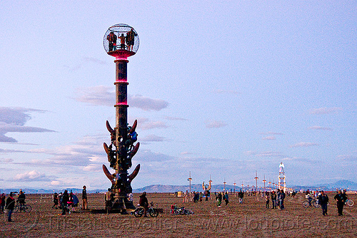 tower - burning man 2010, bryan tedrick, cage, dusk, people, sculpture, the man, the minaret