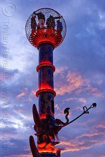 tower with red LED lighting - burning man 2010, art installation, bryan tedrick, burning man, cage, clouds, cloudy, dusk, led lights, red, sculpture, the minaret, tower