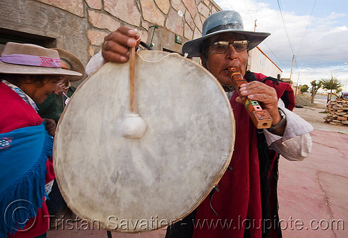traditional andean caja drum and flute, abra pampa, andean carnival, argentina, caja, drum, drummer, drumming, flute, folklore, gaucho, hat, man, music, noroeste argentino, old, quebrada de humahuaca