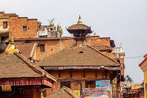 traditional nepali roofs with central brick chimney (nepal), bhaktapur, houses, roofs, tiles