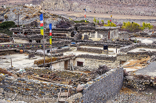 traditional stone houses in mountain village - annapurnas - himalayas (nepal), annapurnas, houses, kali gandaki valley, mountains, prayer flags, tibetan, village