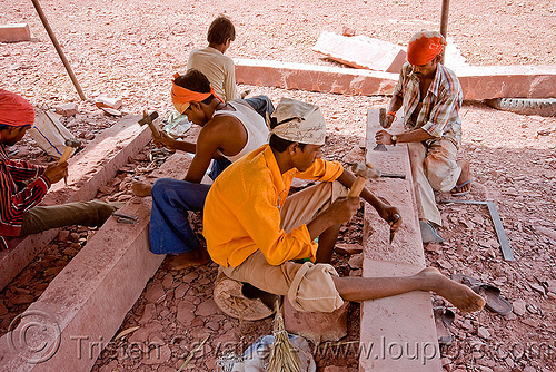 traditional stonemasons at work - palace restoration (india), india, mandav, mandu, men, stonecarvers, stonemasons, workers, working