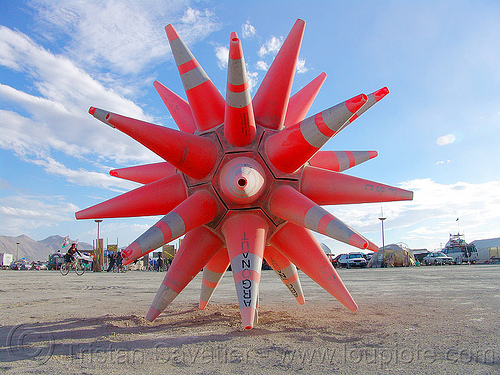 traffic cones star - cone camp satellite - burning-man 2004, argonaut, art installation, burning man, cone camp, road cones, spiky, star shaped, traffic cones