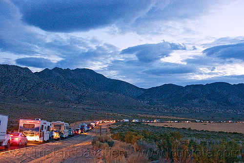 traffic jam on country road, bumper to bumper, burning man, cars, dawn, heavy, night, road, traffic congestion, traffic jam