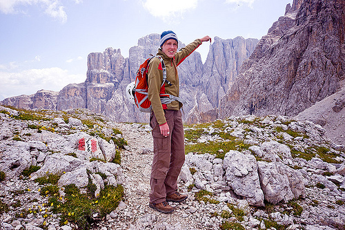 trail near pisciadù refugio (dolomites), alps, cliff, climber, climbing harness, climbing helmet, dolomites, dolomiti, ferrata tridentina, hiking, mountain climbing, mountaineer, mountaineering, mountains, rock climbing, vertical, via ferrata brigata tridentina, woman