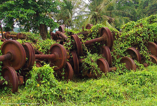 train axles - pelmel - rusty, abandoned, atlantic railway, costa rica, decay, puerto limon, rusted, rusty, train axles, train depot, train wheels, train yard, trespassing, urban exploration