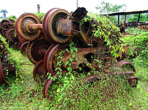 train bogies - train trucks - rusty, abandoned, atlantic railway, costa rica, decay, puerto limon, railway bogies, rusted, rusty, train axles, train bogies, train depot, train trucks, train wheels, train yard, trespassing, urban exploration