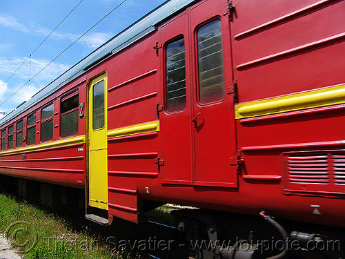 train car - red and yellow, doors, railroad, red, train car, yellow