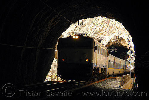 train in tunnel, desfiladero de los gaitanes, el caminito del rey, el camino del rey, el chorro, electric, headlights, locomotive, passenger train, railroad, railway, signs, train engine, trespassing, tunnel, urbex