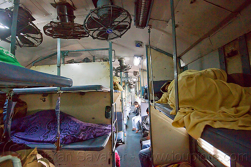 train sleeper couch (india), blankets, ceiling fans, india, indian train, inside, interior, passengers, peopletrain, sleeper class, sleepers, sleeping, train car, train couch