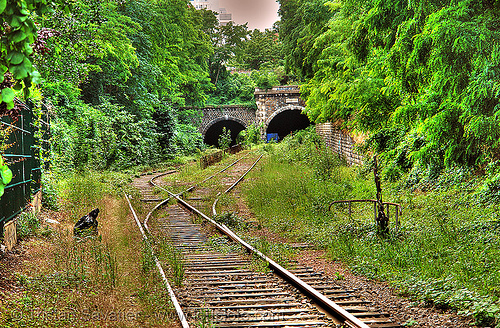 train tunnel entrances - petite ceinture - abandoned railway (paris, france), railroad, railroad switch, railroad tracks, railway tracks, trespassing, tunnels, urban exploration
