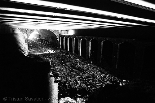 train tunnel - petite ceinture - abandoned underground railway (paris, france), infrastructure, low key, railroad, railroad tracks, rails, railway tracks, railway tunnel, trespassing, urban exploration
