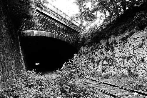 train tunnel - petite ceinture - abandoned underground railway (paris, france), railroad, railroad tracks, rails, railway tracks, railway tunnel, trespassing, urban exploration