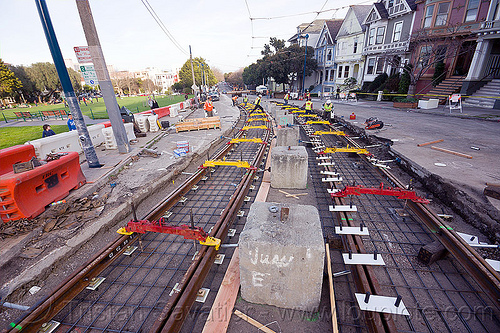 tramway track construction, alignment tools, duboce, light rail, muni, ntk, rail jacks, railroad construction, railroad tracks, railway tracks, san francisco municipal railway, track jacks, track maintenance, track work, yellow