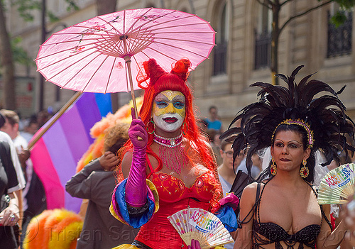 transgenders, black feathers, facepaint, feather headdress, gay pride, japanese umbrella, m2f, paris, people, transgenders, transsexuals, transwoman, transwomen