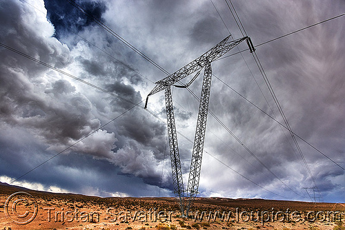 transmission tower and high voltage transmission power line, abra el acay, acay pass, altiplano, argentina, clouds, cloudy, electric line, electricity pylon, high voltage, noroeste argentino, power transmission lines, storm, stormy sky, transmission tower, wires