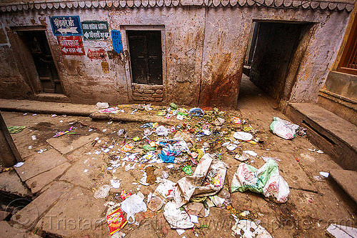 trash in street (india), garbage, rubbish, street, trash, varanasi