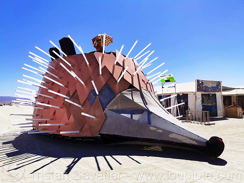 traveling edgehog art car - burning man 2019, burning man, edgehog art car, mutant vehicles