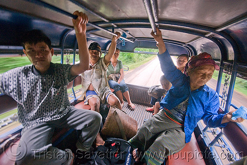 travelling in a sawngthaew (laos), laos, lorry, old woman, passengers, pickup, road, songthaew, taxi, truck