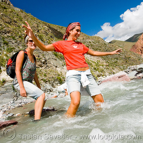 trekking - crossing a mountain stream, alma, fording, iruya, mountains, noroeste argentino, pilar, quebrada de humahuaca, river bed, river crossing, san isidro, trail, trekking, wading, water, wet, women