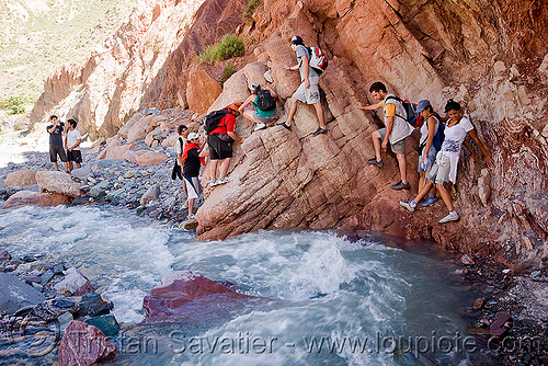 trekking - some scrambling to avoid a river crossing, argentina, hiking, iruya, men, noroeste argentino, quebrada de humahuaca, river bed, san isidro, scrambling, trail, trekking, women