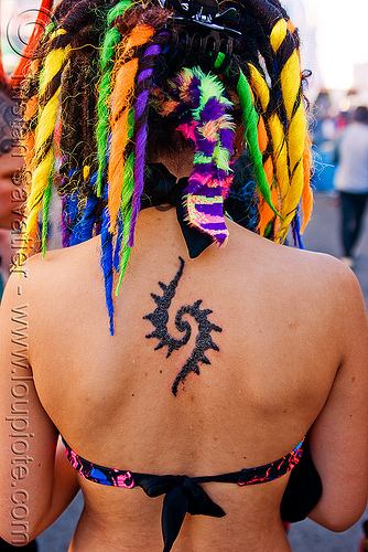 tribal back tattoo, dreadfalls, dreadlocks, dreads, gay pride festival, hair extensions, tattooed, tattoos, tribal tattoo, twisted jessikr, woman