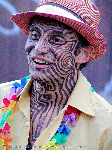 tribal face paint - burning man decompression 2007 (san francisco), face painting, facepaint, hat, people