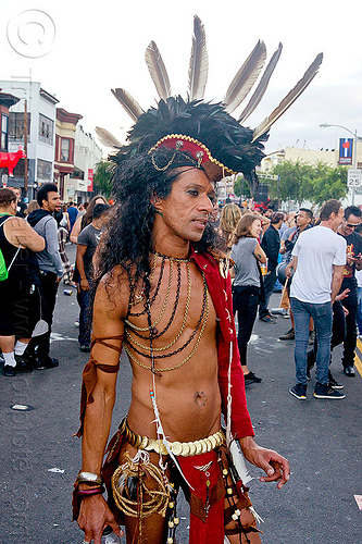 tribal native american costume - folsom street fair (san francisco), chains, feather headdress, feathers, indigenous culture, man, native american, tribal costume
