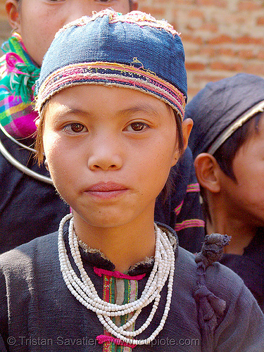 tribe boy - vietnam, children, girls, hat, headwear, hill tribes, indigenous, kids, little girl, necklace