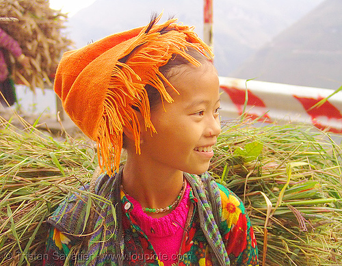 tribe girl carrying grass - vietnam, child, colorful, hill tribes, indigenous, kid, little girl, vietnam