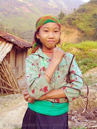 tribe girl - vietnam, child, green hmong, hill tribes, hmong tribe, indigenous, kid, vietnam