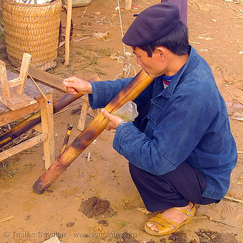 tribe man smoking a bamboo pipe - vietnam, hill tribes, indigenous, man, market, mèo vạc, pipe, smoke, smoking, tobacco