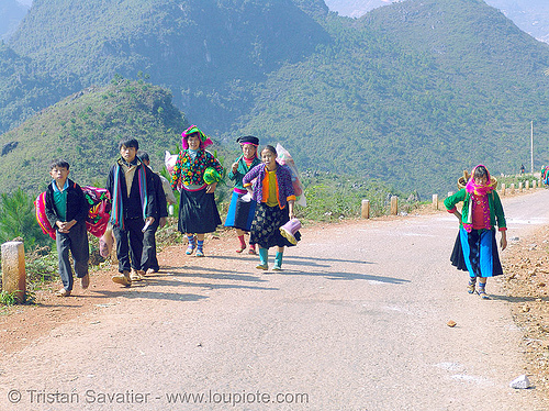 tribe people on the road - vietnam, hill tribes, indigenous, mèo vạc, vietnam
