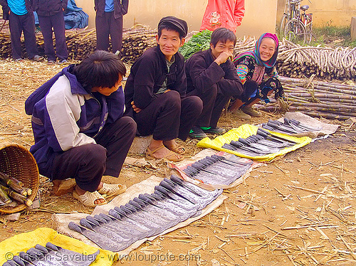 tribe people selling billhooks at the market - vietnam, billhooks, hill tribes, indigenous, mèo vạc, sickle, stall, street market, street seller, vietnam