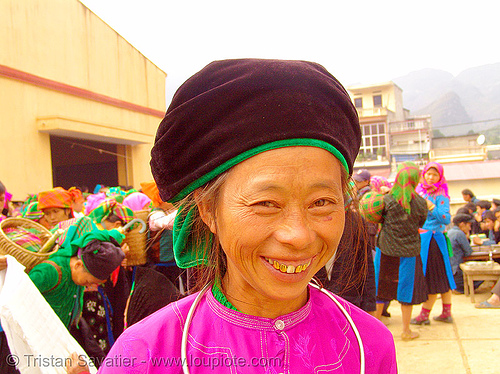 tribe woman - vietnam, asian woman, colorful, gold teeth, hill tribes, indigenous, mature woman, mèo vạc, old, vietnam