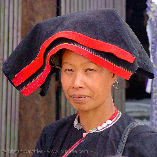 tribe woman - vietnam, asian woman, dao, dzao, headwear, hill tribes, indigenous, people, red, turban, yao