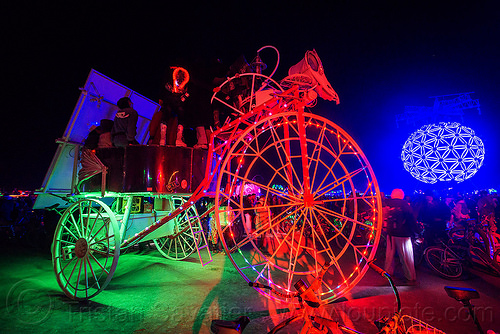 tricycle art car - burning man 2015, glowing, night, tricycle, trike, unidentified art car